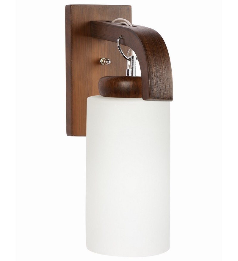 White Glass & Wood Wall Lamp by Lime Light