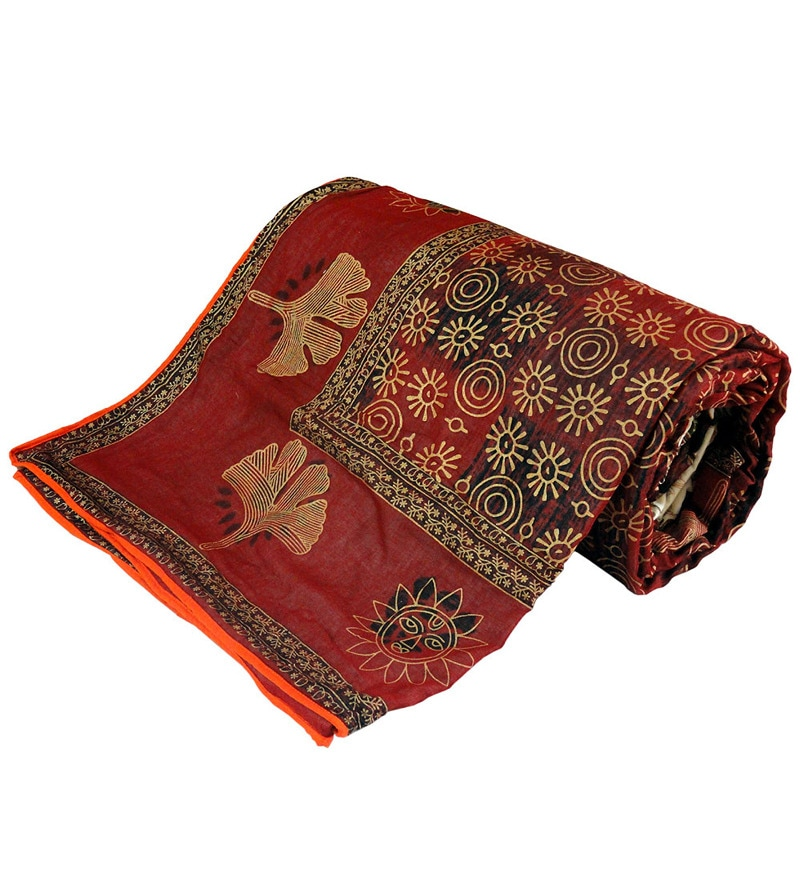 Buy Red Cotton Queen Size Comforter 1 Pc By Little India