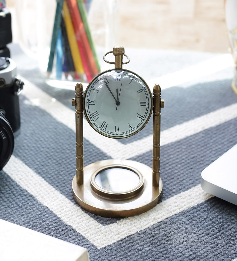 Brown Brass Antique Table Clock Compass by Little India