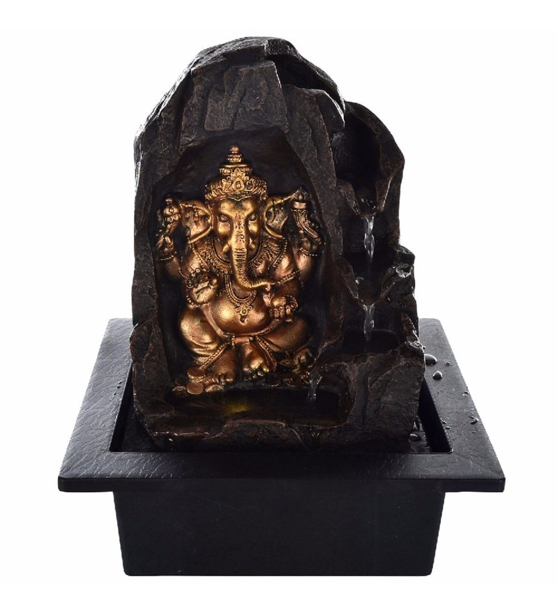 Little India Brown Polystone Lord Ganesha Electric Motor Led Glowed Indoor Water Fountain Fountains Pepperfry