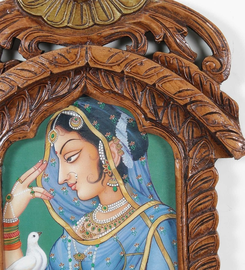 Buy Brown Wooden Rajasthani Princess With Pigeon Jharokha