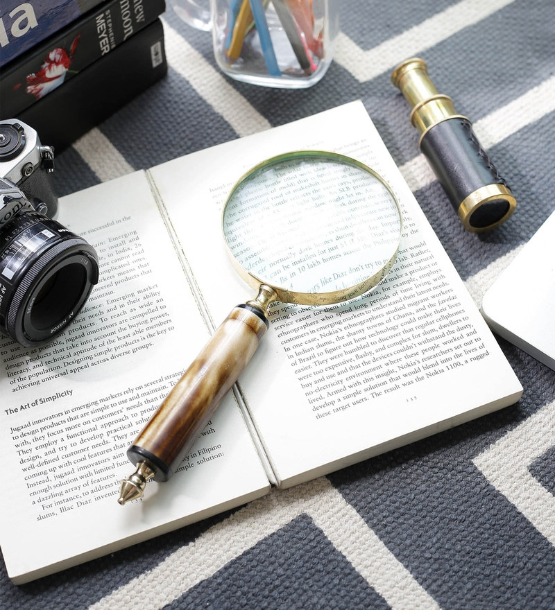 Gold Brass Functional Real Antique Magnifying Glass by Little India