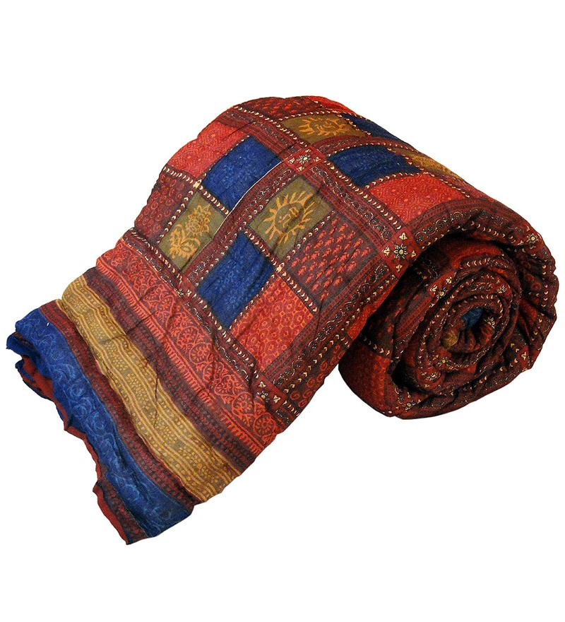 Multicolour Indian Ethnic Cotton Single Size Quilt 1 Pc by Little India