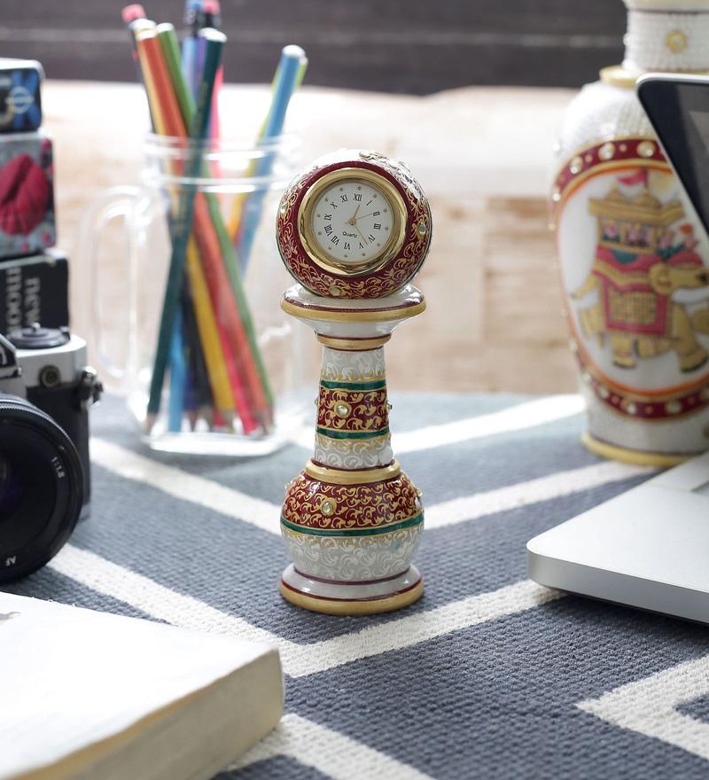 White Marble Gold Painted Meenakari Work Pillar Clock by Little India