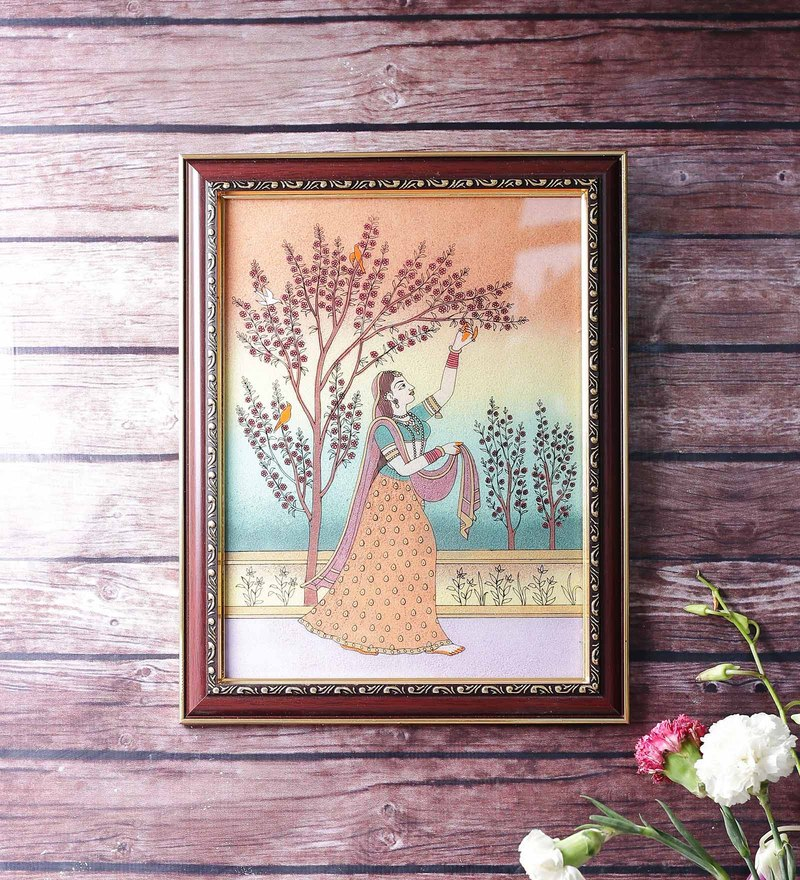 Wooden 9 x 0.5 x 13 Inch Lady Plucking Flowers Pure Gemstone Framed Painting by Little India