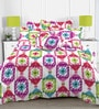 Linens Multicolor Cotton Abstract Patterns 110 x 90 Inch Bed Sheet (with pillow covers)