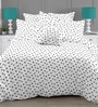 Linens White & Gray Cotton Geometric Pattern 110 x 90 Inch Bed Sheet (with Pillow Covers)