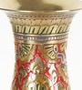 Brass Meenakari Work Flower Vase by Little India