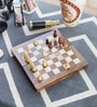 Brown Wooden Designer Chess Board Handicraft Gift by Little India