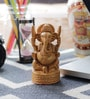 Little India Brown Wooden Fine Carved Lord Ganesha Design Gift