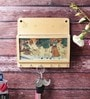 Brown Wooden Gemstone Painting Key Magazine Holder by Little India