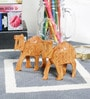 Little India Brown Wooden Hand Carved Camel Handicraft Gift - Set of 2