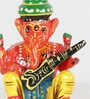 Brown Wooden Lord Ganesha Playing Music Handicraft Set - Set of 6 by Little India