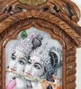 Brown Wooden Lord Radha Krishna Playing Flute Jharokha Painting by Little India