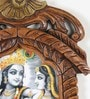 Brown Wooden Radha Krishna Jharokha Photo Frame by Little India