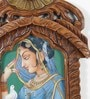 Brown Wooden Rajasthani Princess with Pigeon Jharokha Painting by Little India