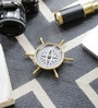 Gold Brass Antique Wheel Design Pure Real Compass by Little India
