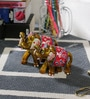 Little India Gold Papier Mache Handcrafted Gold Elephant Set - Set of 7