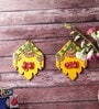 Little India Multicolour Wooden Kundan Work Handmade Shubh Labh Door Hanging - Set of 2