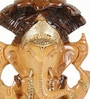Little India Multicolour Wooden Painted Lord Ganesha Seated Sheshnaag Idol