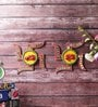 Multicolour Wooden Unique Kundan Swastik Shubh Labh Door Hanging - Set of 2 by Little India