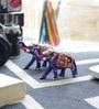 Little India Multicolour Zinc Decorative Enamel Work Elephant Gift - Set of 2