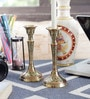 Little India Silver Brass Handcrafted Fine Pure Candle Stand - Set of 2