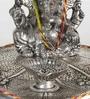 Silver Metal Lord Ganesha Pretty Pooja Idol by Little India