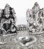 Silver Metal White Lord Laxmi Ganesh Idol with Dia Thali by Little India
