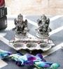 Silver Metal White Lord Laxmi Ganesha Idol with Diya Set by Little India
