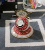 Little India White Marble Beautiful Golden Meenakari Work Table Clock with Stand