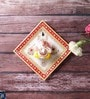 White Marble Gold Meenakari Lord Ganesha Hanging Plate by Little India