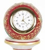 Little India White Marble Gold Painted Meenakari Work Pillar Clock
