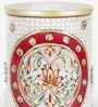 Little India White Marble Hand Painted Floral Minakari Pen Stand