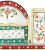 Little India White Marble Meenakari Pen Stand with Visiting Card Holder