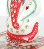 White Marble Meenakari Work Lord Ganesha Idol with Pooja Chowki by Little India