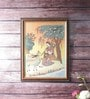 Wooden 9 x 0.5 x 13 Inch Meera Playing Sitar N Forest Gemstone Framed Painting by Little India