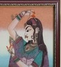 Wooden 9 x 0.5 x 13 Inch Pretty Princess Bani Thani Gemstone Framed Painting by Little India