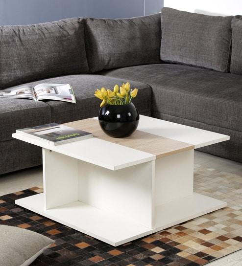 Astounding Llio Coffee Table With Bar Compartment In Frosty White And Castle Oak Finish By Couchette Inzonedesignstudio Interior Chair Design Inzonedesignstudiocom