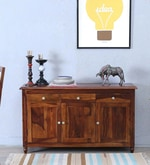 Louis Solid Wood Three Door Cabinet in Provincial Teak Finish