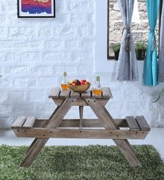 Lomira Solid Wood Two Seater Picnic Table In Distress Finish
