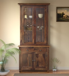 Louis Solid Wood Hutch Cabinet in Provincial Teak Finish