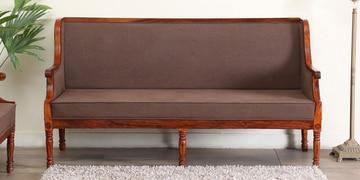 Louis Three Seater Sofa In Honey Oak Finish