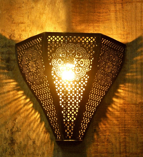 Buy black and gold iron wall light by logam online upward wall black metal vintage moroccan wall light by logam aloadofball Images