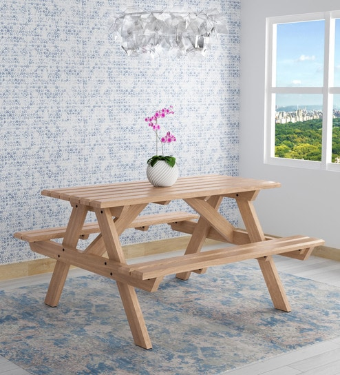 Buy Lomira Solid Wood Four Seater Picnic Table In Natural Mango Wood - Picnic table finish