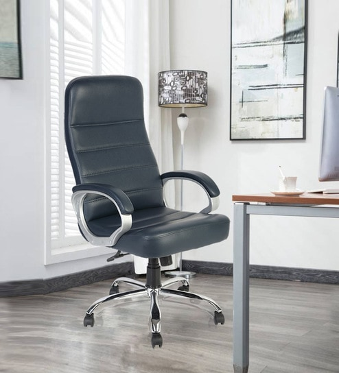 London High Back Executive Chair In Blue Leatherette By Green Soul
