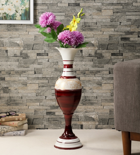 Pepperfry & Red Metal Long Metal Vase for Living Room Home D cor by Ethnic Karigari