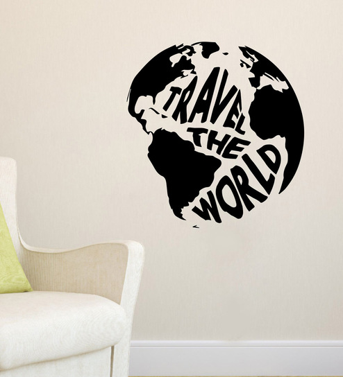 Wall Sticker World Map.Buy Travel The World Map Wall Sticker Decal By Stickeryard Online