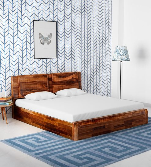 Buy Lorenzo Solid Wood King Size Bed With Storage In Warm Rich