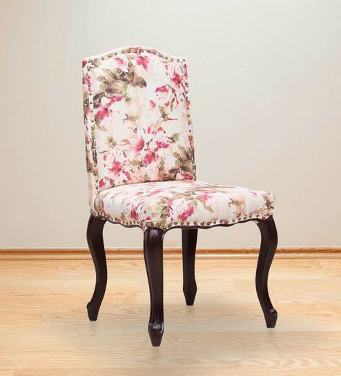 Buy Lorraine Dining Chair In Salmon Pink Floral Print By Amberville
